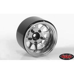 """Jantes métal Chrome Deep Dish Wagon 1.55"""" Stamped  Beadlock  RC4WD Z-B0285"""