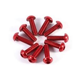 Vis aluminium Rouge  tête bombée hexagonale  M3x10 Freerun