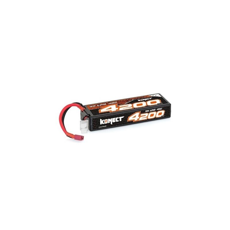 Konect Lipo 4200mah 11.1V 40C 3S1P 46.6Wh (Slim Pack Dean) Hobbytech
