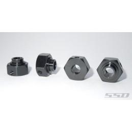 Hexagones de roues SSD  alu Noir 6mm pour Capra  SSD00396