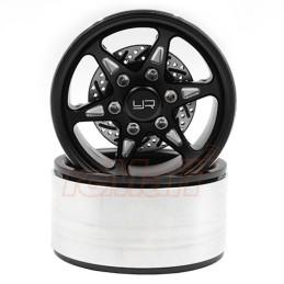 Jantes alu Noir Beadlock 1.9 CNC BNX 6 branches avec disques Yeah Racing  WL-0127BK