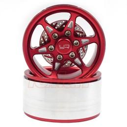Jantes alu Rouge Beadlock 1.9 CNC BXN 6 branches avec disques Yeah Racing  WL-0127RD