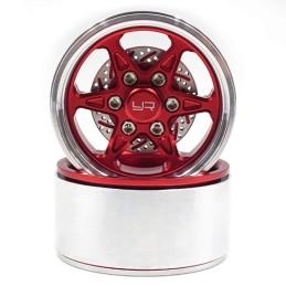Jantes alu 1.9 Rouge CNC BXC 6 branches  avec freins a disques  Yeah Racing WL-0122RD