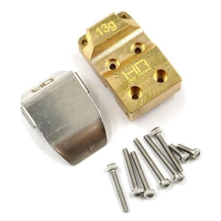Capot  de pont lest laiton avec tole de protection pour SCX24  HotRacing SXTF12CP