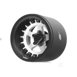 Jantes Boom Racing ProBuild™ 1.9 » Extra large SS5 Réglable Offset Aluminum Beadlock (2) noir et argent - BRPB018BKRS-EW