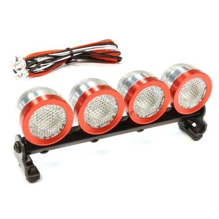 Rampe de 4 phares leds blanches argent/rouge Integy