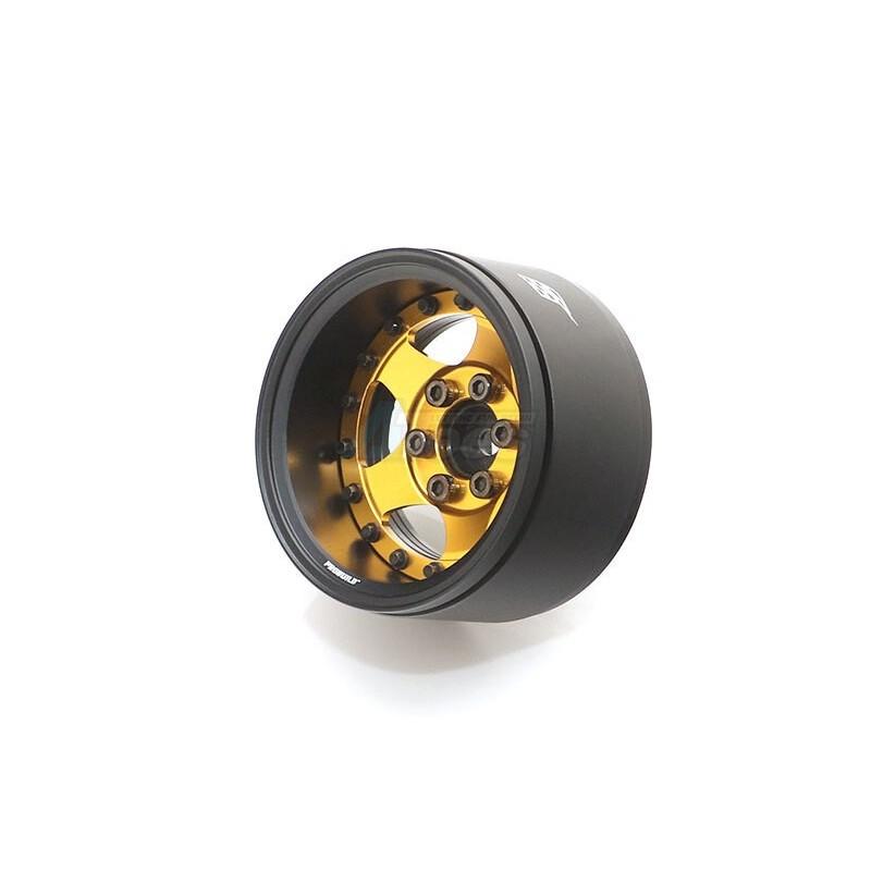 Jantes Boom Racing ProBuild™ 1.9 « SV5 Réglable Offset Aluminium Beadlock Roues (2) Noir mat/Or - BRPB034MBKGD
