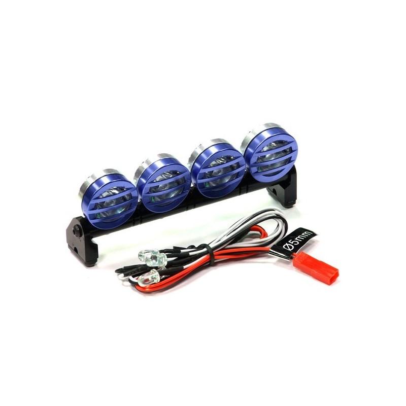 Rampe de phare alu Bleu T3 de 4 leds blanches 1/10 105mm Réalistic Top Sport  Integy