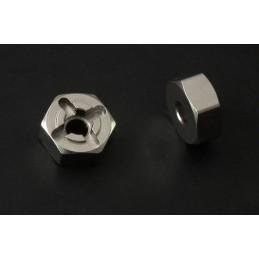Hexagones alu silver épaisseur 6mm double axe RC4WD (4)