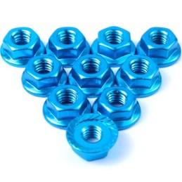 Ecrou cranté 4mm aluminium  Bleu clair Yeah Racing (10)