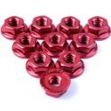 Ecrou cranté 4mm aluminium Rouge (10)