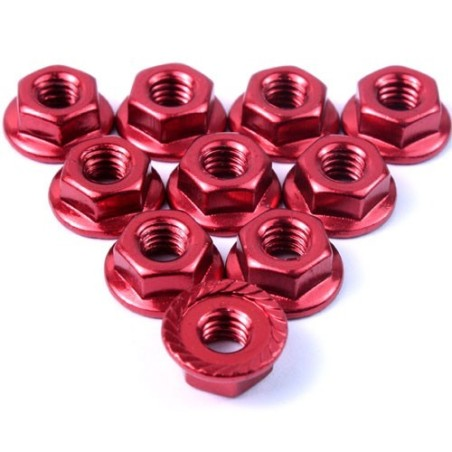 Ecrou cranté 4mm aluminium Rouge Yeah Racing (10)