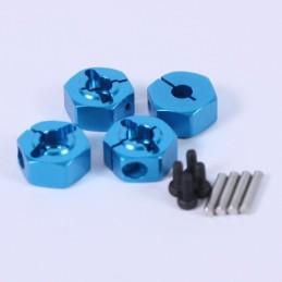 Hexagones de roues alu bleus pour 1/10e - 6mm avec vis de sécurité Yeah Racing