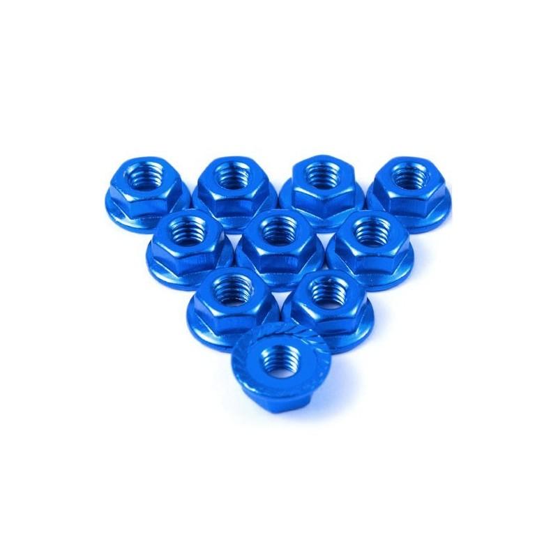 Ecrou cranté 4mm aluminium  Bleu foncé (10)