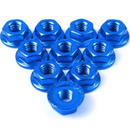 Ecrou cranté 4mm aluminium  Bleu foncé Yeah Racing (10)