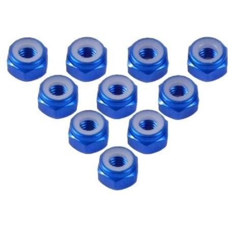 Ecrou frein aluminium M4 couleur Bleu  Yeah Racing