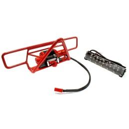 Pare choc avant métal Rouge avec treuil et rampe de leds Axial SCX10 Integy