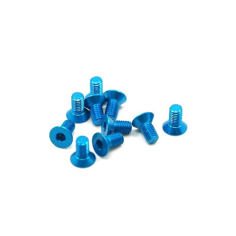 Vis alu bleue têtefraisée M3x6  (10) Yeah Racing