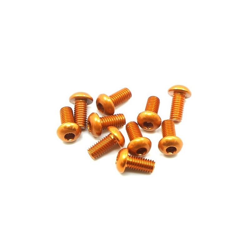 Vis aluminium orange tete bombée M3x10  Yeah Racing