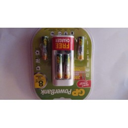 Piles rechargeables GP AAA LR-03 400mah 1,2V (4) + Chargeur USB