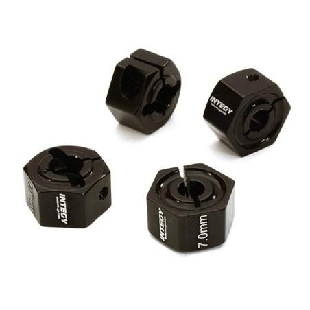 Hexagones de roues 12mm en alu Noir  épaisseur 7mm Integy