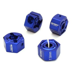 Hexagones de roues 12mm en alu Bleu  épaisseur 7mm Integy