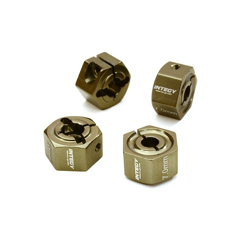 Hexagones de roues 12mm en alu Gun  épaisseur 7mm Integy