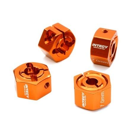 Hexagones de roues 12mm en alu Orange  épaisseur 7mm Integy