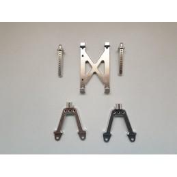 Set supports amortisseurs et renforts alu  Silver avants et arrières pour SCX10 CoolRacing