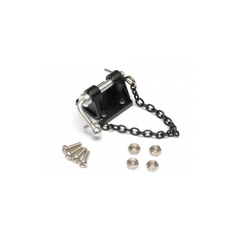 Crochet d'attelage métal noir avec goupille scale 1/10e BoomRacing