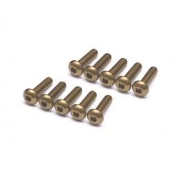 Vis aluminium 7075 Tête bombée  M3 x 12 Titane  BoomRacing ( 10 )
