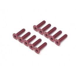 Vis aluminium 7075 Tête fraisée M3 x12 Rouge BoomRacing ( 10 )