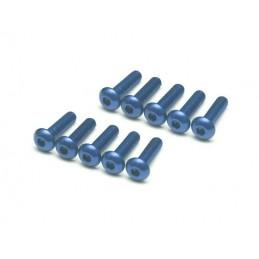 Vis aluminium 7075 Tête bombée  M3 x 12 Bleu BoomRacing ( 10 )