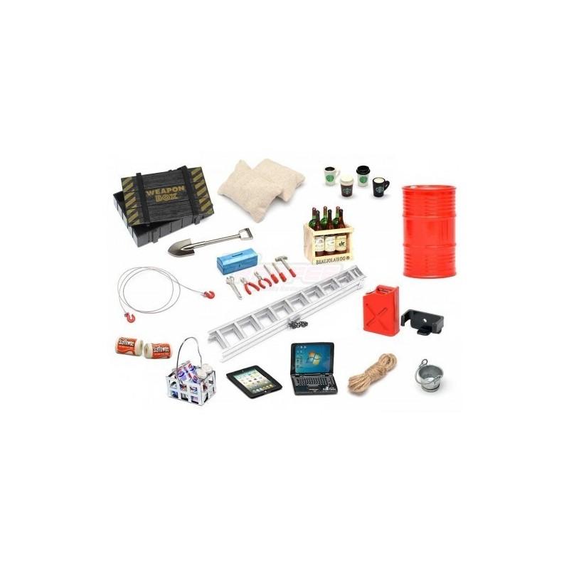 Set d'accessoires scales 1/10e realistic 16 pièces Team Raffee