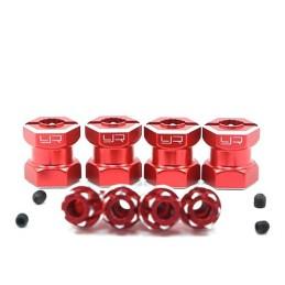 Hexagones élargisseurs 15mm alu rouge Yeah Racing