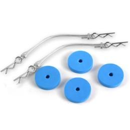 Rondelles mousses bleues pour carrosserie 1/10e Yeah Racing YA-0239BU