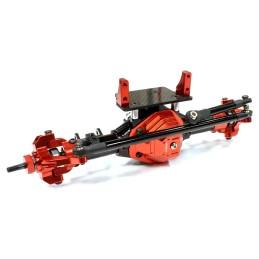 Pont avant métal complet T4 pour SCX10 Noir/Rouge  Integy
