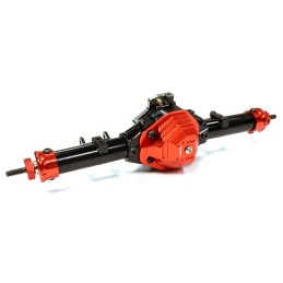Pont arrière complet T4 pour SCX10 Noir/Rouge  Integy